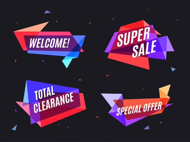Geometrical colorful banner, speech bubble Premium Vector