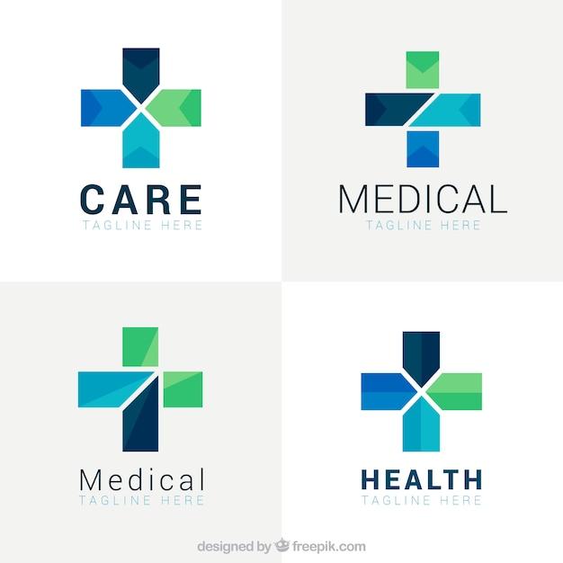 Geometrical cross medical logos
