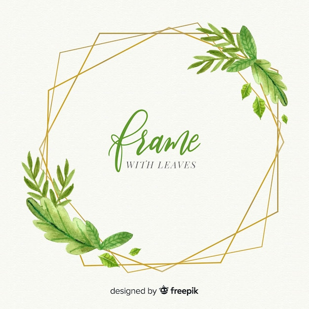 Geometrical golden frame with watercolor leaves Free Vector