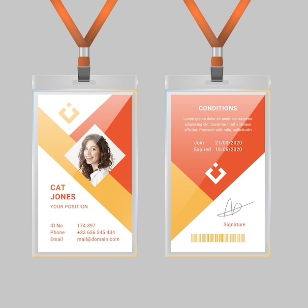 Geometrical id card template with photo Free Vector