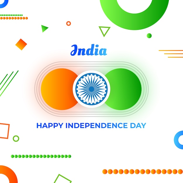 Geometrical india independence day flyer wish Premium Vector