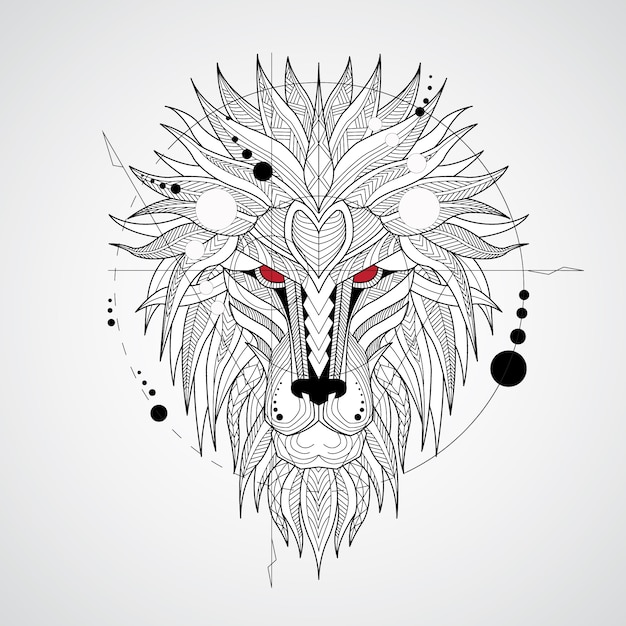 Geometrical lion design background Free Vector