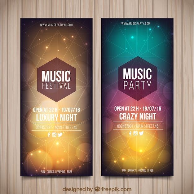 Geometrical party flyer set Free Vector
