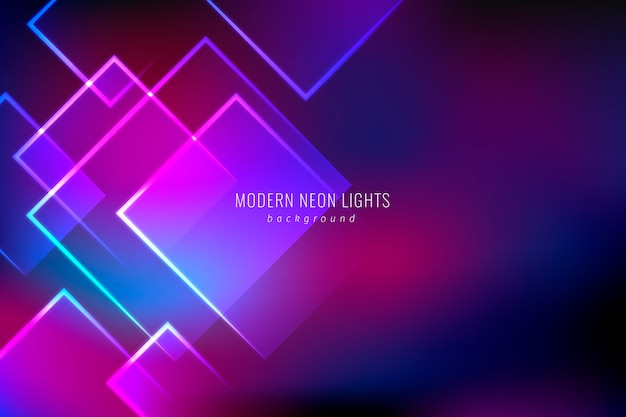 Geometrical shapes neon lights background Free Vector