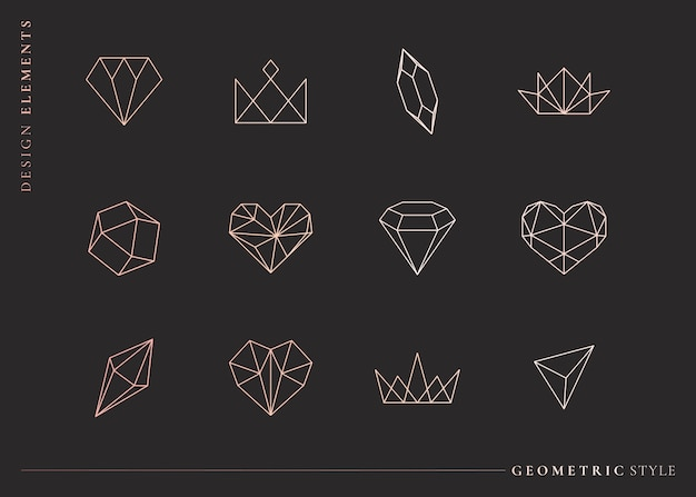 Geometrical shapes set Free Vector