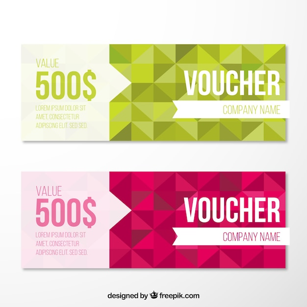 Geometrical Voucher Pack Free Vector  Coupons Design Templates