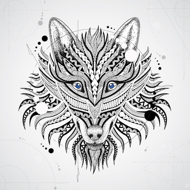 Geometrical wolf design background Free Vector