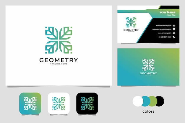 Geometry beauty logo  and business card. good use for fashion, yoga and spa logo Premium Vector