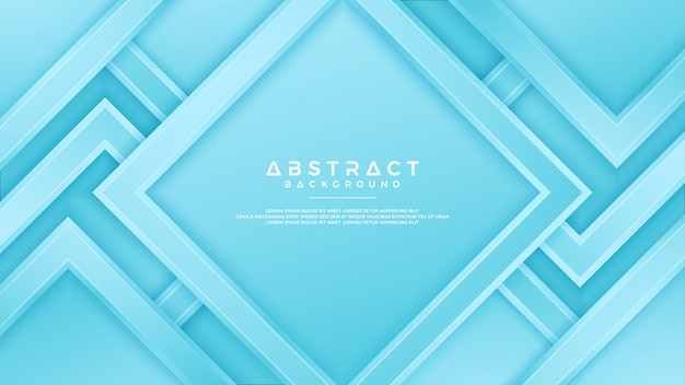 Geometry blue background with 3d style. Premium Vector