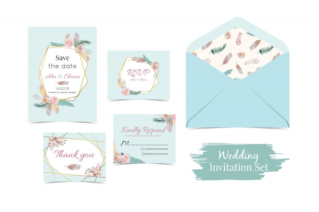 Geometry blue green gold wedding invitation set with feather Premium Vector