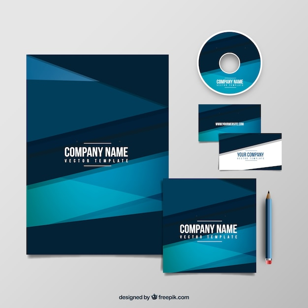 Blue Corporate Stationary Pack By Betty Design: Geometry Company Blue Template Pack Vector