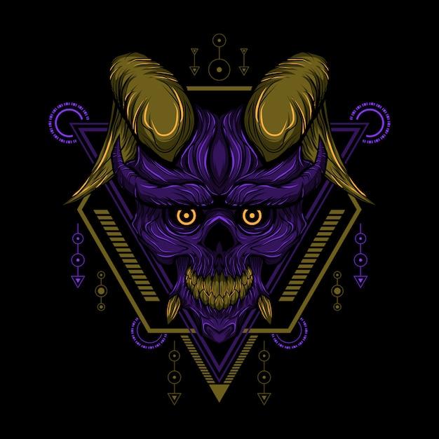 Geometry devil skull vector Premium Vector
