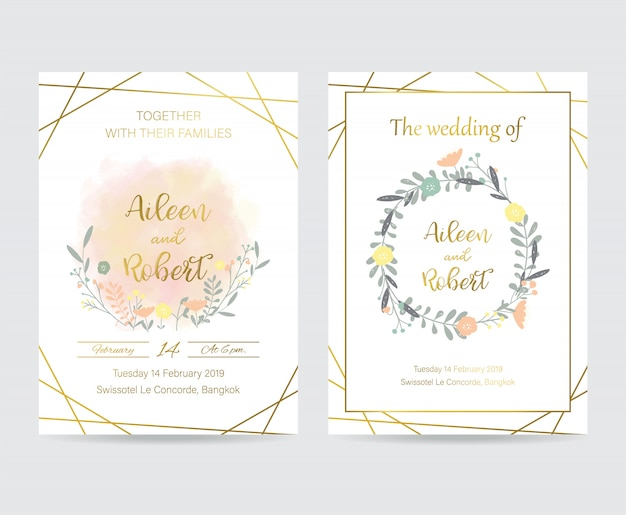 Geometry gold wedding invitation card with flower,leaf and frame Premium Vector