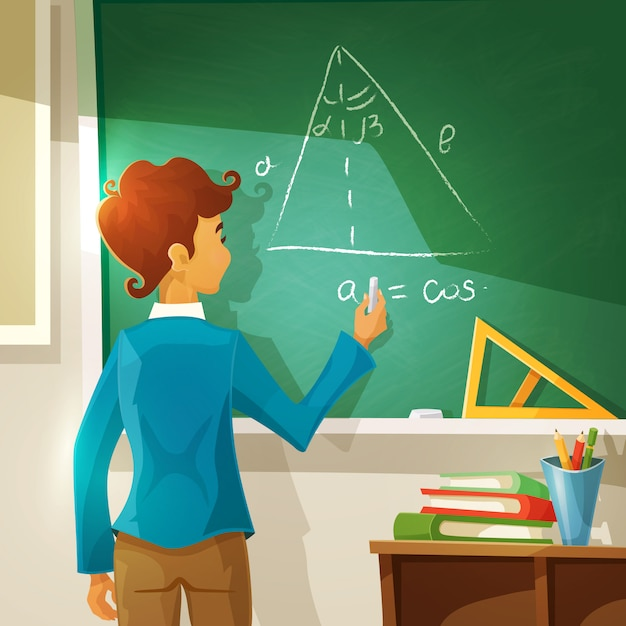 Geometry lesson cartoon illustration Free Vector
