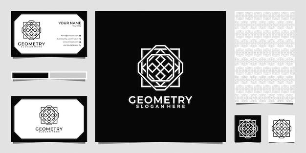 Геометрия линии арт логотип, визитная карточка и узор Premium векторы