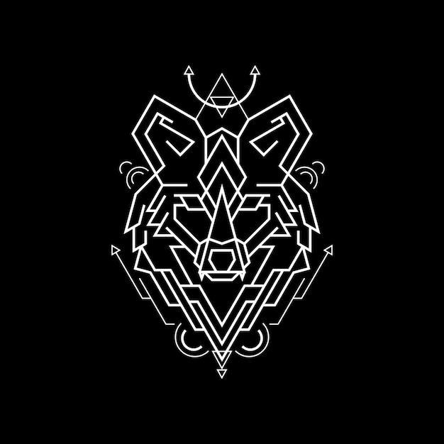 Geometry line mighty fox Premium Vector