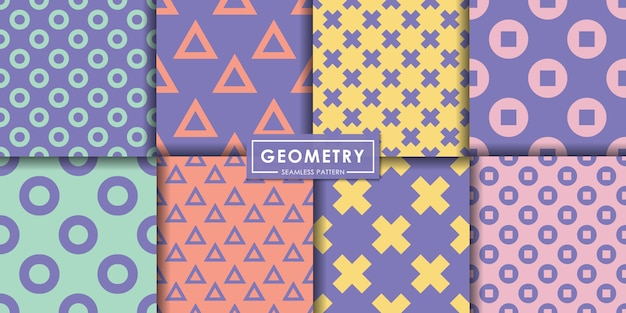 Geometry pastel seamless pattern set, abstract background, decorative wallpaper. Premium Vector