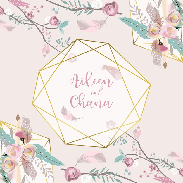 Geometry pink gold wedding invitation card with rose Premium Vector