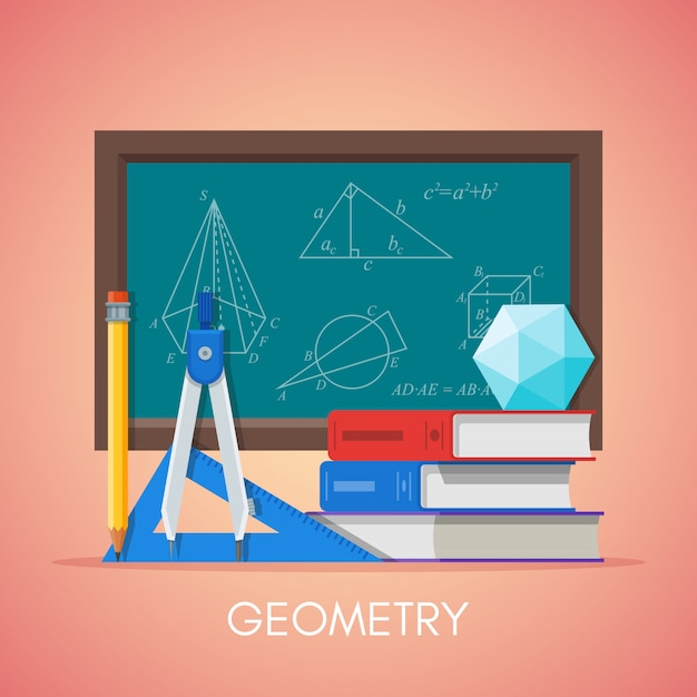 Geometry science education concept poster in flat style design. geometry and math symbols on a school chalkboard. Premium Vector