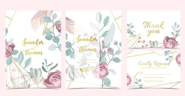 Geometry wedding invitation card template Premium Vector