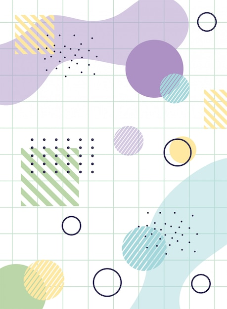 Geommetric memphis 80s 90s style abstract grid Premium Vector