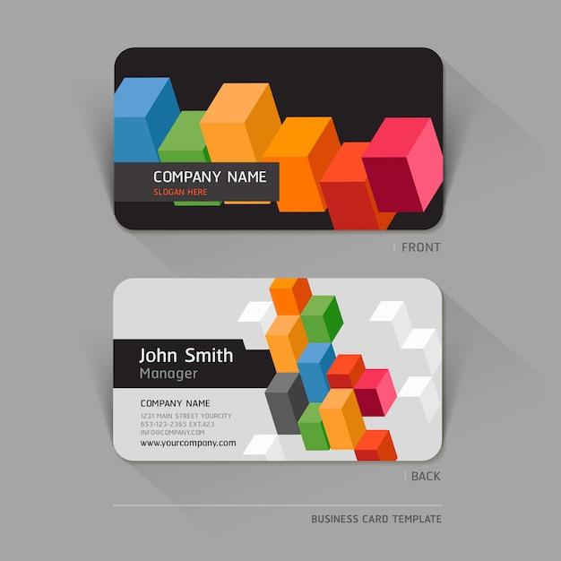 Визитная карточка абстрактная с формами geomtrcis Premium векторы