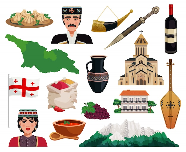 Плоский набор иконок туризма грузии с карта страны флаг памятники достопримечательности национальная кухня блюда изолированные Бесплатные векторы