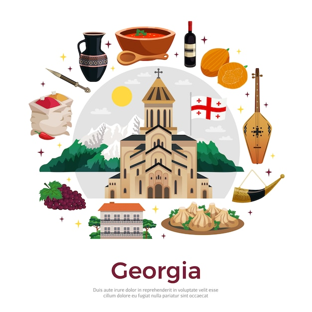 Georgia for tourists flat round composition  with mountains landmarks musical instruments wine spices dishes Free Vector
