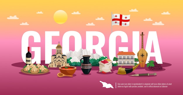Georgia travel horizontal flat composition  with national flag food landmarks beautiful color gradient Free Vector