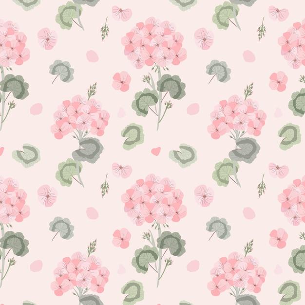 Geranium flower seamless pattern Premium Vector