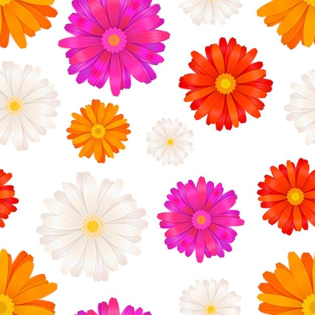 Gerbera flowers seamless pattern Premium Vector