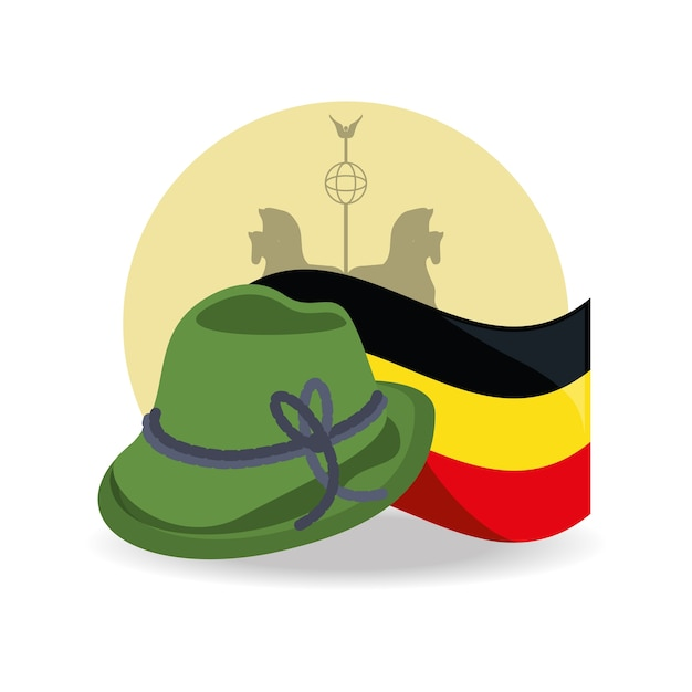 2afd39fb261 German alpine hat and germany flag icon Vector