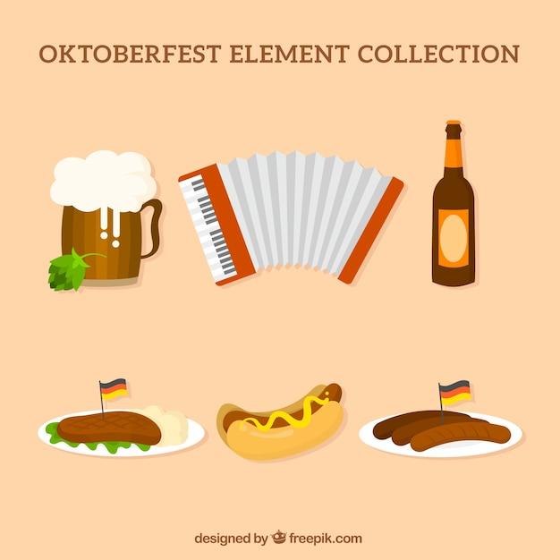 Немецкое пиво, еда и аккордеон Бесплатные векторы