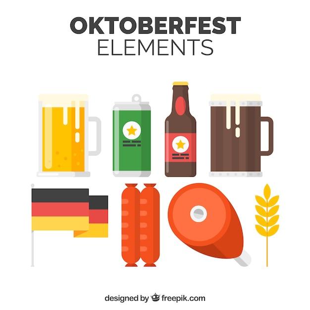 Немецкое пиво, еда и флаг Бесплатные векторы
