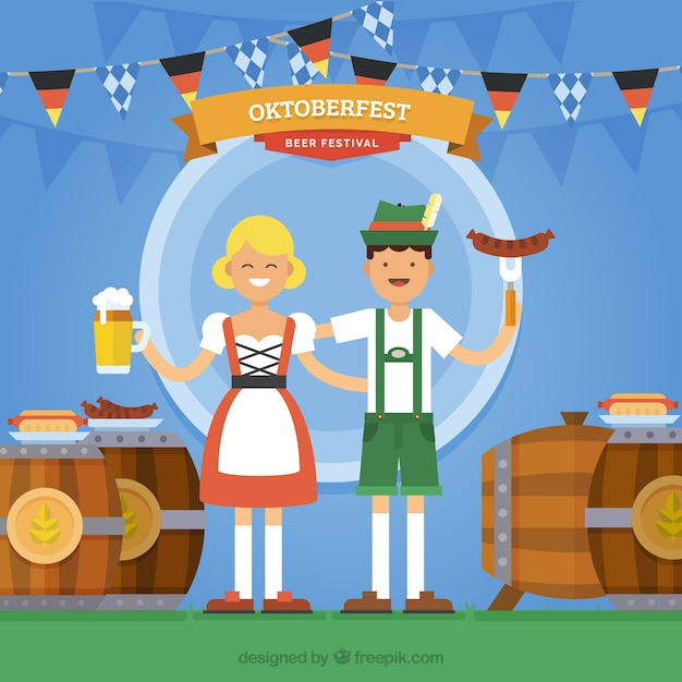 German couple eating and drinking in the oktoberfest Free Vector