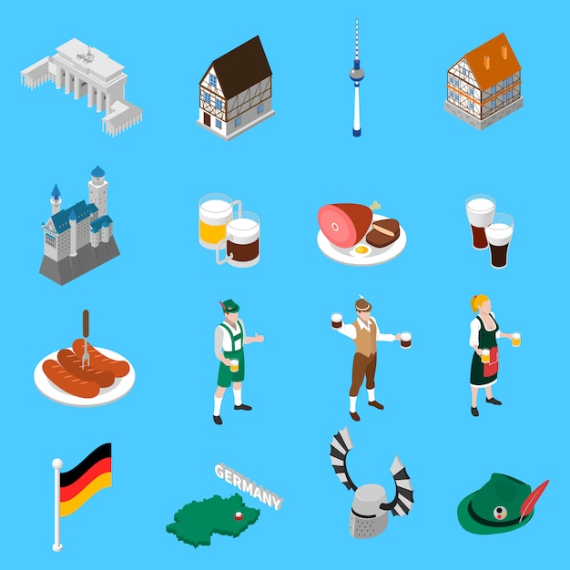 German culture traditions isometric icons collection Free Vector