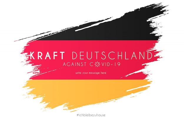 지원 메시지와 함께 수채화 스플래시에 독일 국기 무료 벡터