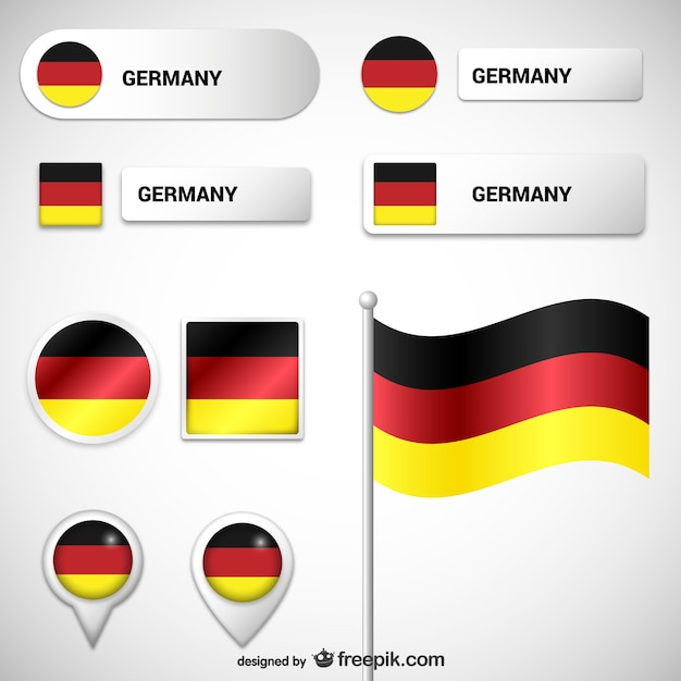 German flags and labels Free Vector