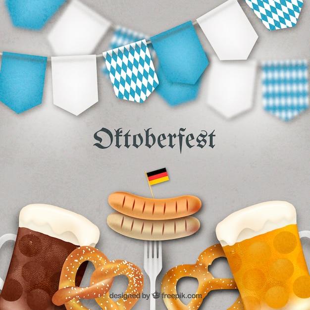 German food and beer in the oktoberfest Free Vector
