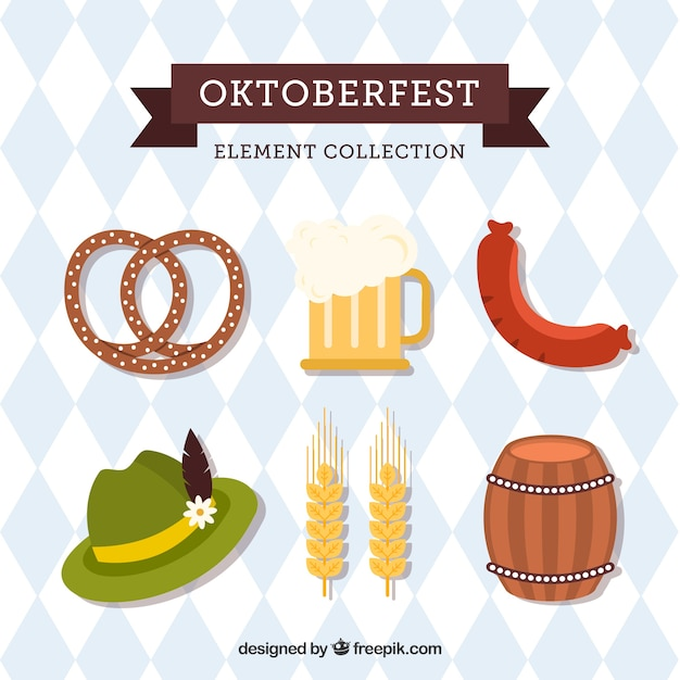 Немецкая шляпа, пиво и еда Бесплатные векторы