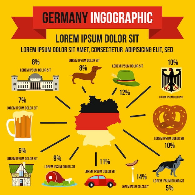German infographic elements in flat style for any design Premium Vector