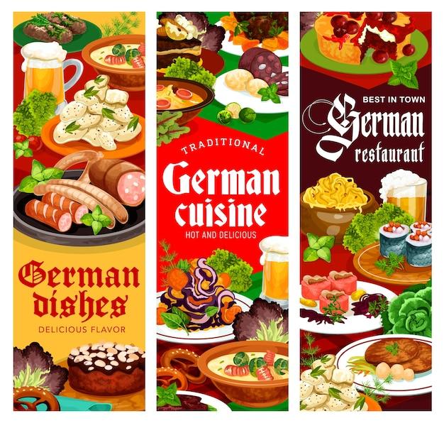 ドイツ料理レストランのバナー。ソーセージとニシンのロールモップの詰め物、キャベツ、チーズとポテトのサラダ、ラブスカウス牛肉、バイエルンとハンバーグのステーキ、アーモンドケーキとチェリーパイのジャーマンスープ Premiumベクター