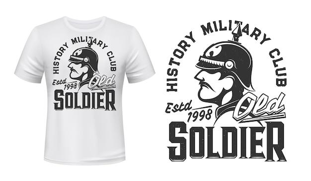독일 군인 티셔츠 프린트 프리미엄 벡터
