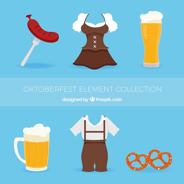Традиционное немецкое платье, пиво и еда Бесплатные векторы