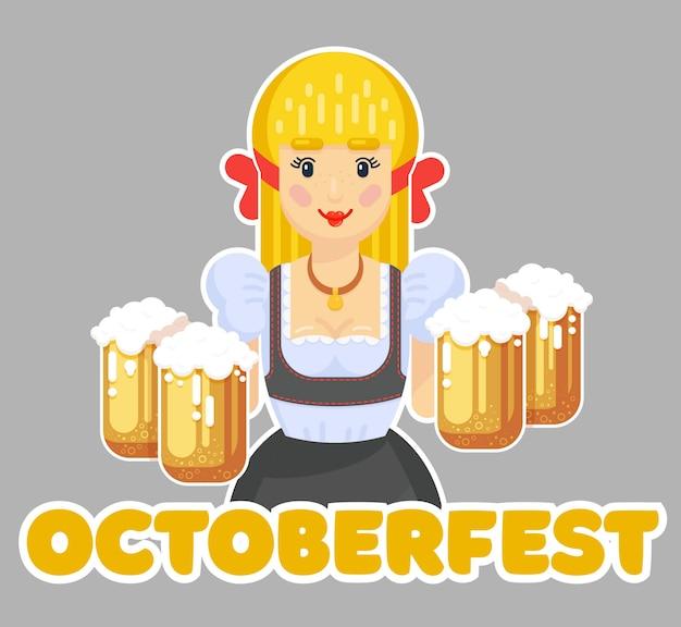 Немецкая женщина с пивом. октоберфест дизайн логотипа. девушка официантка в традиционной одежде. плоская иллюстрация Premium векторы