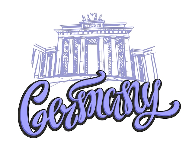 Germany. berlin. brandenburg gates. Premium Vector