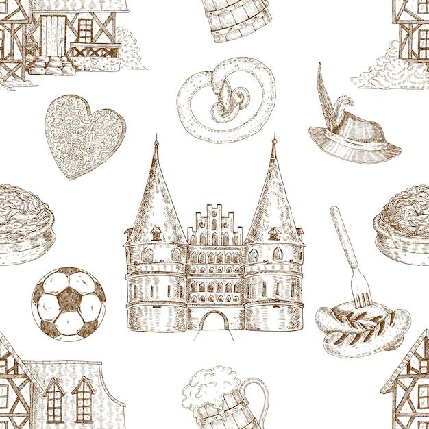 ドイツ描かれたシームレスパターン 無料ベクター