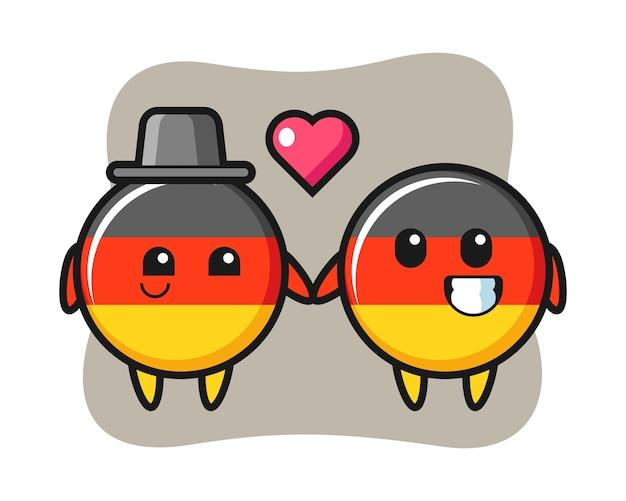 恋に落ちるジェスチャーでドイツ国旗バッジ漫画キャラクターカップル Premiumベクター