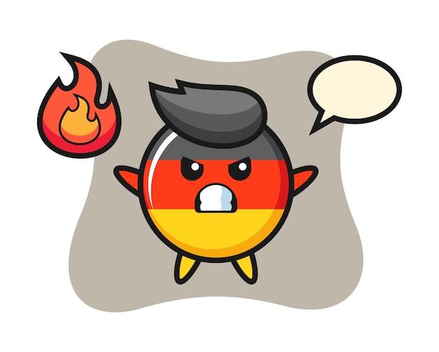 Мультяшный персонаж значка флага германии с сердитым жестом Premium векторы