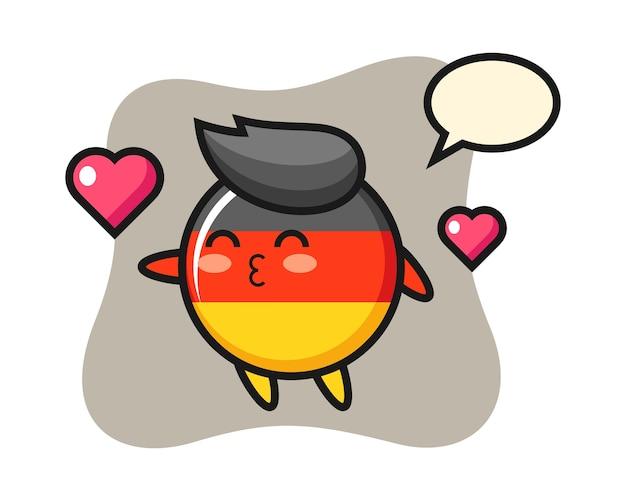 Мультяшный персонаж значка флага германии с жестом поцелуя Premium векторы